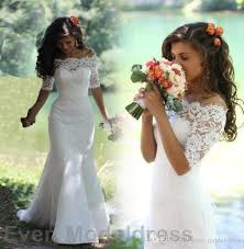 2017 country mermaid lace wedding dresses off shoulder court train