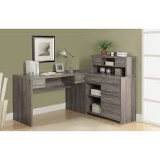 Wood Corner Desk With Hutch by Small Gray Wood L Shaped Corner Desk With Hutch And Storage Unit