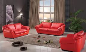 Home Design   Exciting Modern Living Room Sets - Red leather living room set