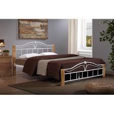 Wood And Metal Bed Frame Thiago Bed Frame Wood Metal Bed White Metal Wood Posts