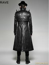 fashion for heavy men black gothic heavy punk long leather coat for men devilnight co uk
