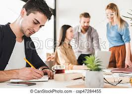 in bureau confident office worker in bureau manager is absorbedly stock