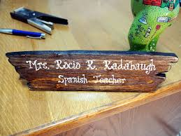 desk accessories distressed wood desk name plate rustic office