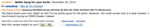 amazon curved tv black friday 20 hilarious amazon reviews of the 119 999 samsung tv thought
