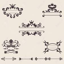 collection of vintage ornament and retro frame vector royalty