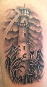 Lighthouse Tattoo Ideas Clouds Waves And Lighthouse Tattoos On Biceps Tattoo Ideas 3d