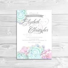 Succulent Wedding Invitations Watercolor Succulent Wedding Invitation Diy Printable