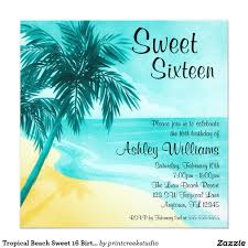 Sweet 16 Birthday Invitation Cards Tropical Beach Sweet 16 Birthday Party Invitations A Trendy Teal