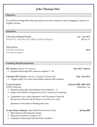 Sample For Teacher Resume by Esl Resume For Teaching English In Korea