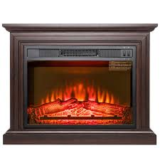 akdy 31 in freestanding electric fireplace heater in brown with