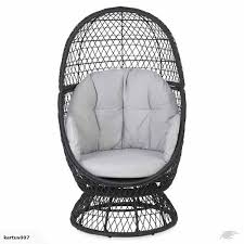 Patio Egg Chair Outdoor Brown Resin Wicker Swivel Egg Chair With Cushions Pool