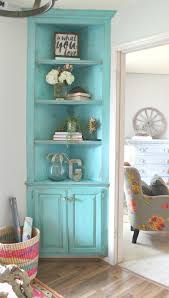 turquoise painted corner built in it u0027s she den makeover reveal