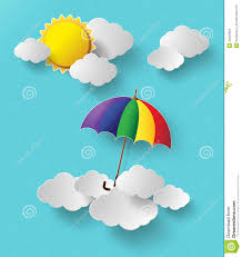 colorful umbrella flying high in the air stock vector image
