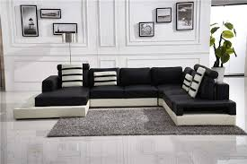 Black Leather Sofa Modern Living Room Fantastic U Shape Modern Cozy Black Leather Sofa