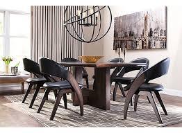 Raymour And Flanigan Dining Chairs Prato 7 Pc Dining Set Dark Brown Walnut Raymour U0026 Flanigan