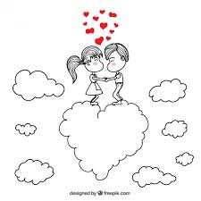 romantic couple drawing vector free download