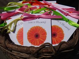 orange gerber daisy design with wildflower seeds inside for