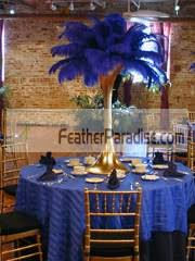 blue centerpieces feather plume palm tree wholesale cheap bulk discount blue royal
