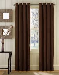 dark brown fabric curtains on stainless hook and double brown