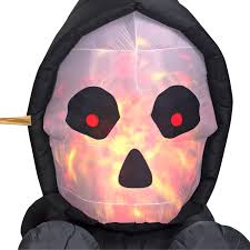 halloween airblown inflatable 7ft fire and ice skull coach scene