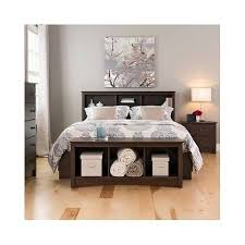 Wood Bed Frame With Shelves Wood Storage Bookcase Headboard Full Queen Bed Frame Espresso
