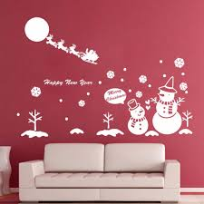 christmas tree vinyl wall decal christmas lights decoration 2016 snowman christmas tree vinyl wall decals snowflake art wall sticker shop glass window christmas home