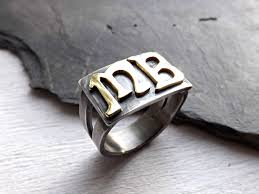 monogramed rings buy a crafted mens signet ring mens initial ring