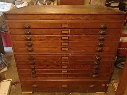 Antique Oak Architect Blueprint Flat File Cabinet Incline Tabletop