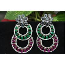 dangler earrings american diamond studded emerald and ruby dangler earrings