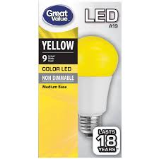 Color Led Light Bulbs by Great Value Led Light Bulb 9w Yellow A19 Walmart Com