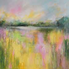 Impressionist Landscape Painting by Tracy Ann Marrison Yellow Field Abstract Landscape 29 Large