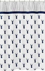 Boy Bathroom Shower Curtains Sweet Jojo Designs Navy And White Woodland Deer Boys