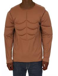 mens brown padded muscle chest army halloween costume accessory