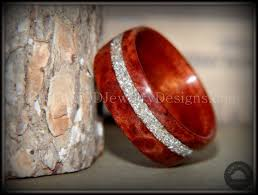 glass wedding rings bentwood waterfall bubinga wooden wedding rings handmade silver