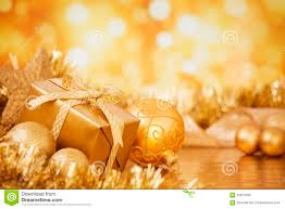 with gold baubles and gift gold background stock