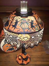 halloween collectables vintage halloween tole lamp by artist black cat u0027s frolics hand
