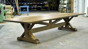 huge white oak trestle table started with a log 12 x 4 feet