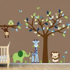 Brown Tree Wall Decal Nursery Childrens Jungle Wall Decals Nursery Room Decoration Green