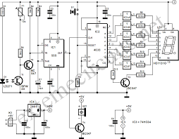 light gate with counter using 555 and 4033 circuit diagram