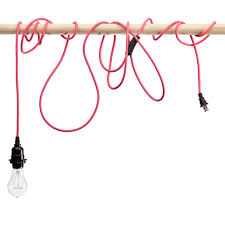 Cloth Cord Pendant Light Pink Braided Cloth Covered Light Cord