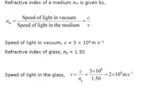 what is the speed of light light enters from air to glass having refractive index 1 50 what is