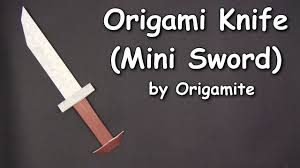 origami cool knife mini sword by origamite origami easy