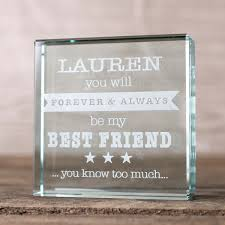 personalised glass token forever and always my best friend
