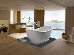wooden laminate flooring idea in modern bathroom design with free
