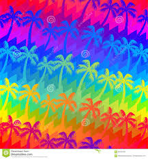 tropical rainbow palm trees seamless pattern stock vector image