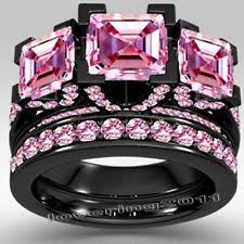 black and pink wedding ring sets sterling silver sapphire engagement wedding ring sets ebay