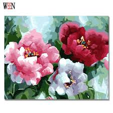 online shop ween three color flower painting by numbers diy hand