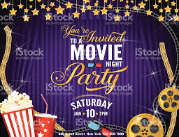 movie night party horizontal invitation template with purple