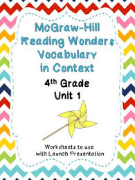 mcgraw hill reading wonders context clues worksheets unit 1 4th grade