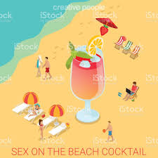 on the beach cocktail flat 3d isometry isometric alcohol